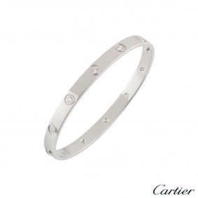 Cartier White Gold Full Diamond Love Bracelet Size 18 B6040718